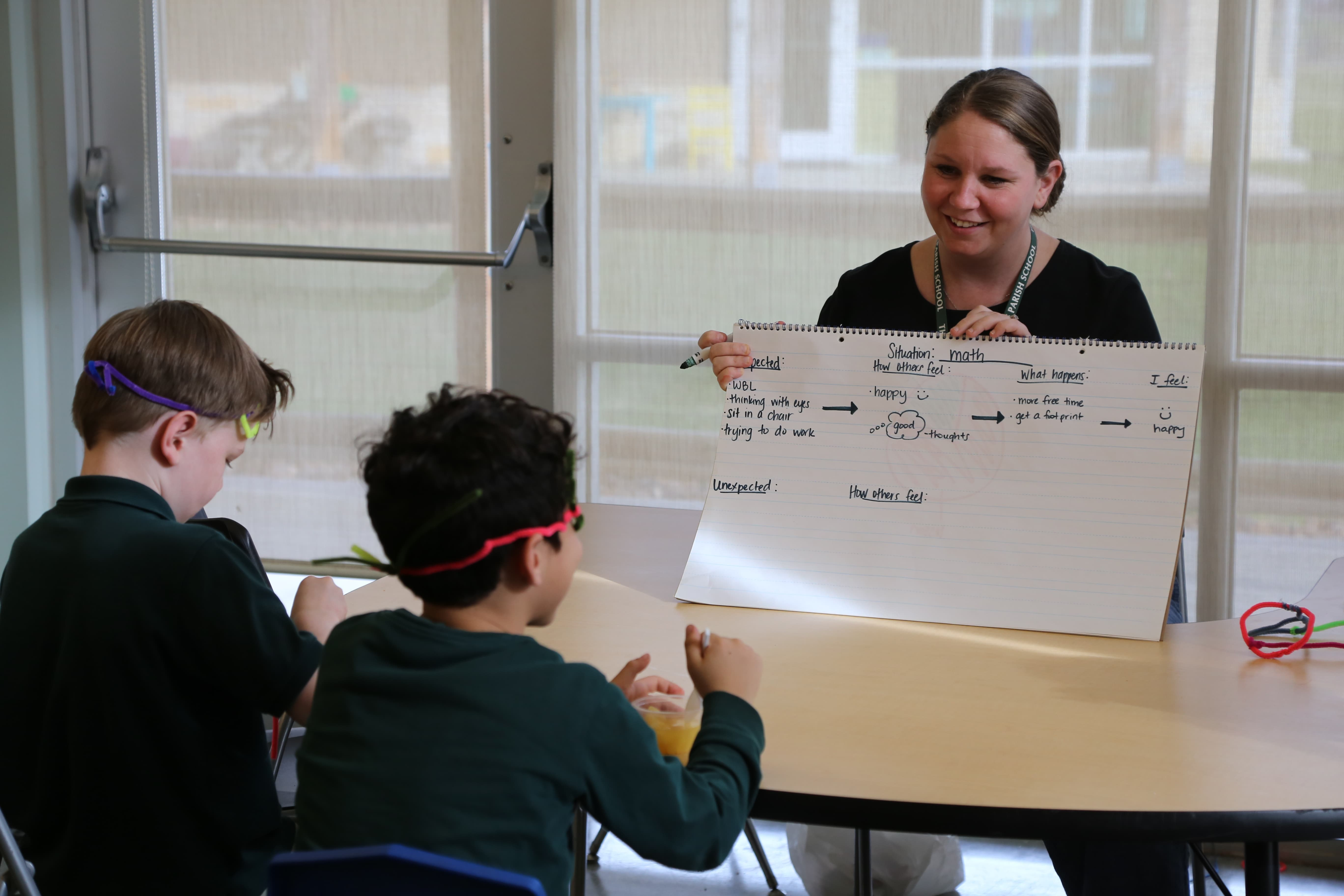 Social Learning and Social Thinking therapist instructs a social thinking group at The Parish School
