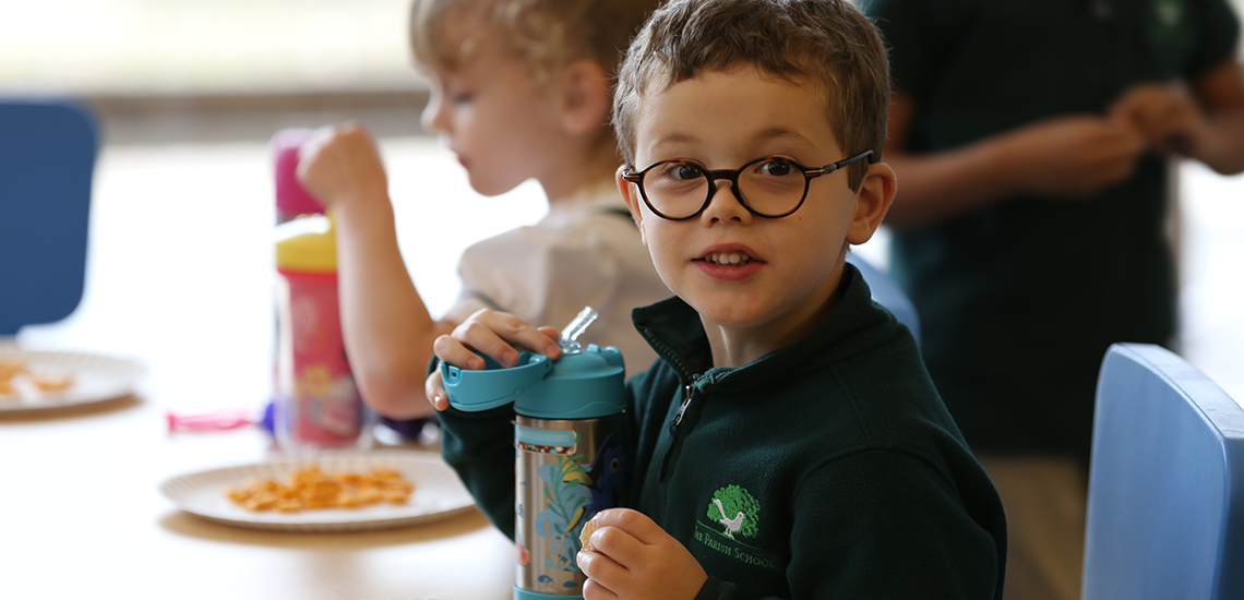 Students have lunch together at The Parish School