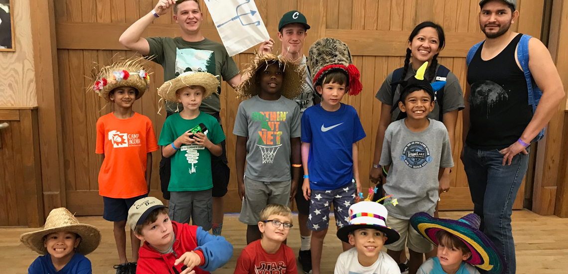 Camp Social Superheroes boys group at camp