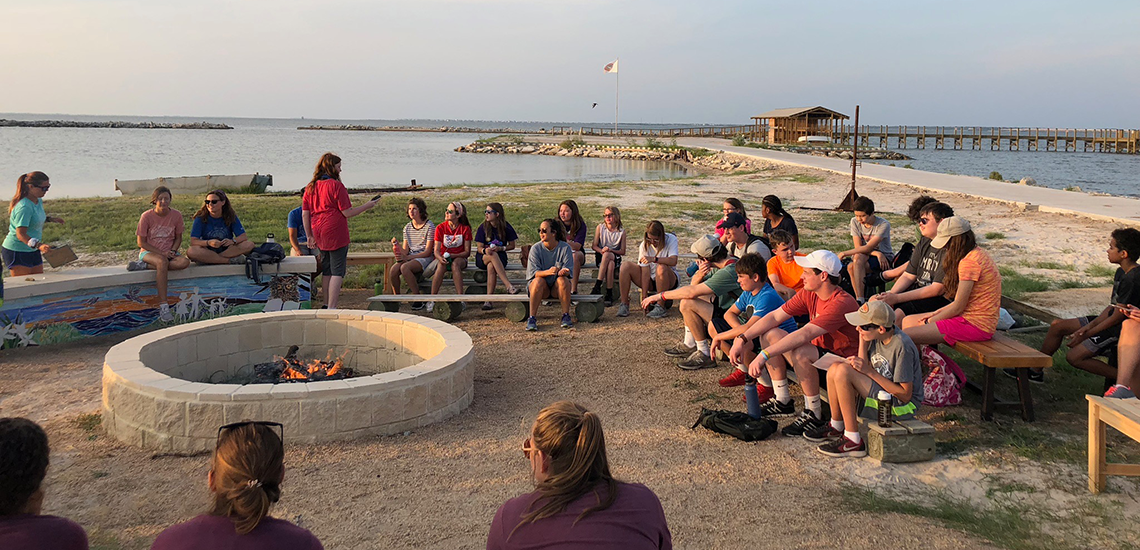 Camp Connect at fire pit