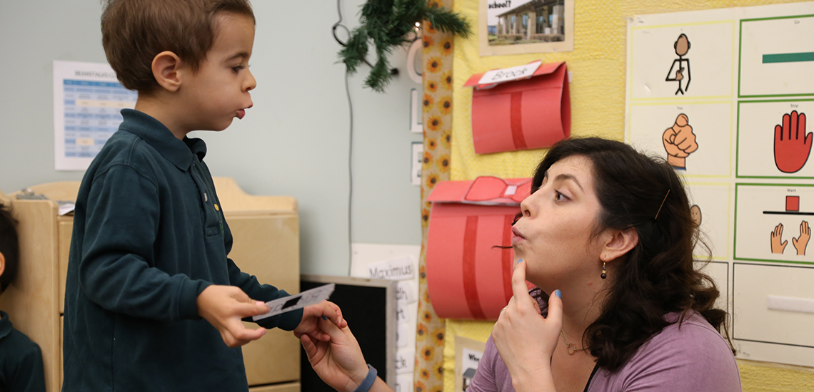 A Parish School speech-language pathologist working with student