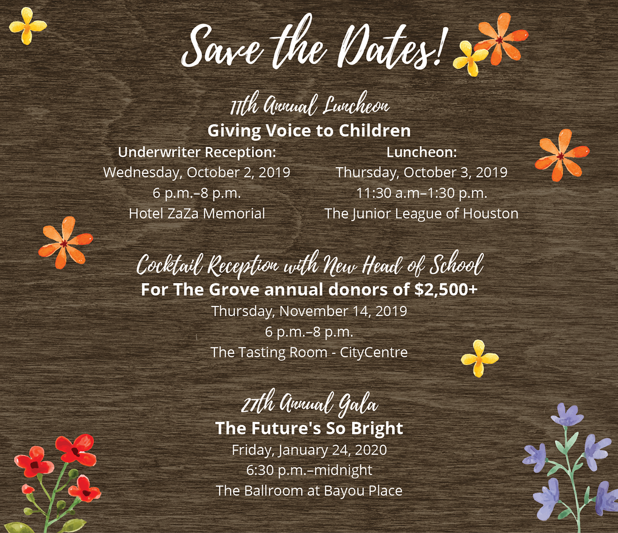 Save the Dates 2019